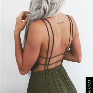 Lulu's Olive Green Maxi Dress with Grid Back